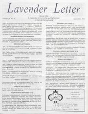 Lavender Letter (Harrisburg, PA) - September 1992