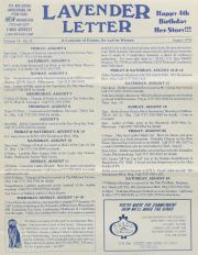 Lavender Letter (Harrisburg, PA) - August 1996