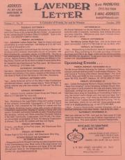 Lavender Letter (Harrisburg, PA) - October 1999
