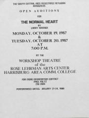 ''The Normal Heart'' Flyer for Open Auditions - October 19 and 20, 1987