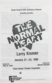 """The Normal Heart"" Program - January 21, 1988"