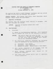 Lily White & Company Board of Directors Meeting Minutes - 1991