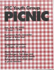 Pink Triangle Coalition Youth Group Picnic Flyer - July 18, 1992