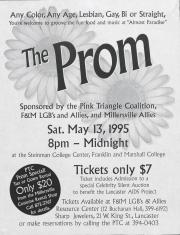 """Pink Triangle Coalition """"The Prom"""" Flyer - May 13, 1995"""