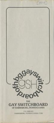 Gay Switchboard of Harrisburg brochure - 1979