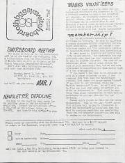 Gay Switchboard of Harrisburg (GSH) Newsletter - February 1981