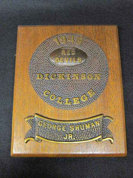 George Shuman, Jr. Football Plaque, 1949