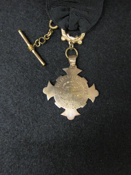 Belles Lettres Prize for Oratory medal, 1895