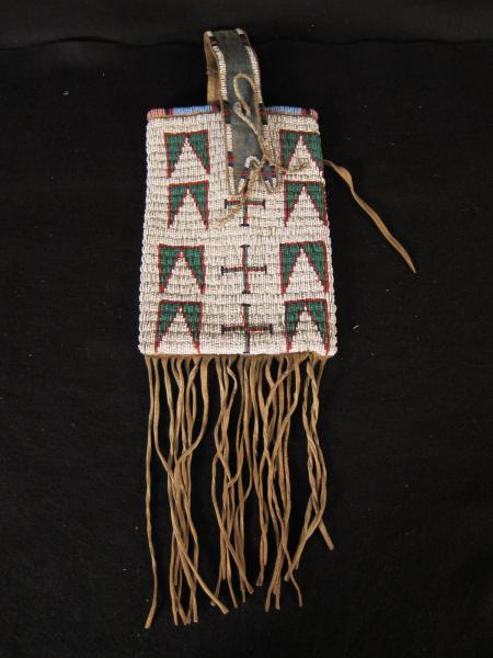 Large Green, White and Red Pouch with Handle, c.1890