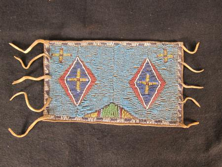 Small Blue Beaded Pouch (2), c.1890