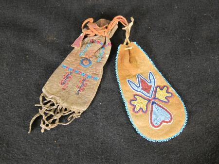 Small Beaded Drawstring Pouches (2), c.1890