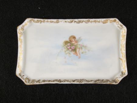 White Tray with Cherub, c.1890