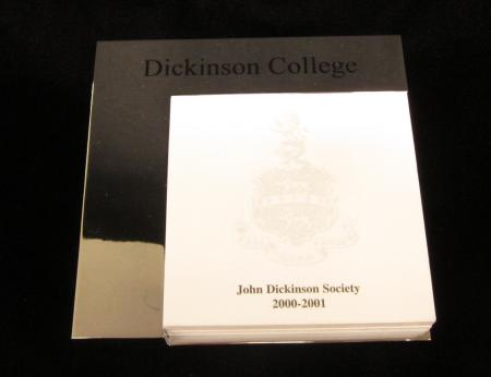 John Dickinson Society post-it notes holder, 2001