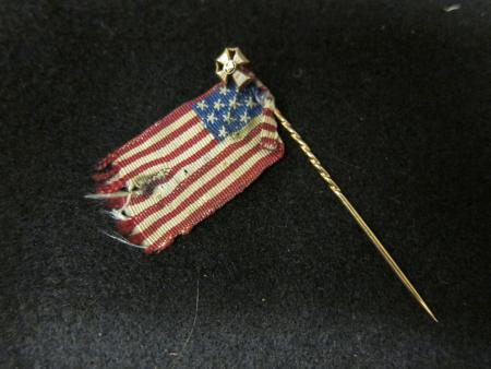 Sigma Chi fraternity pin and flag, c.1865