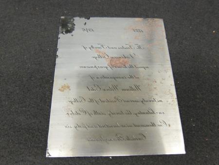 Engraving Plate, 1946