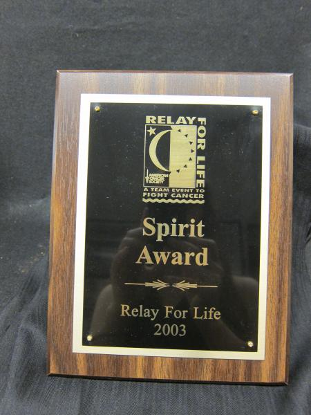 Relay for Life plaque, 2003