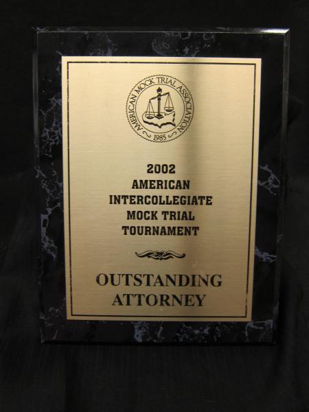 Mock Trial plaque, 2002