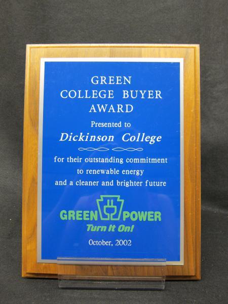 Green College Buyer Award plaque, 2002
