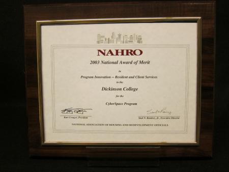 NAHRO Award plaque, 2003