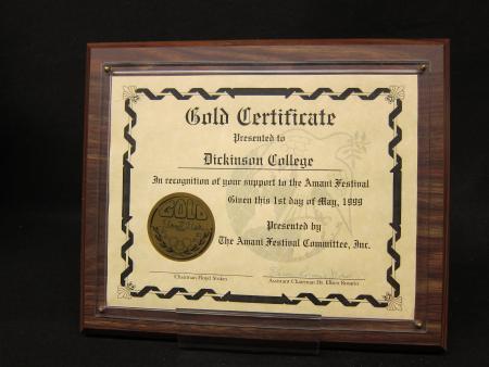 "Amani Festival ""Gold Certificate"" plaque, 1999"