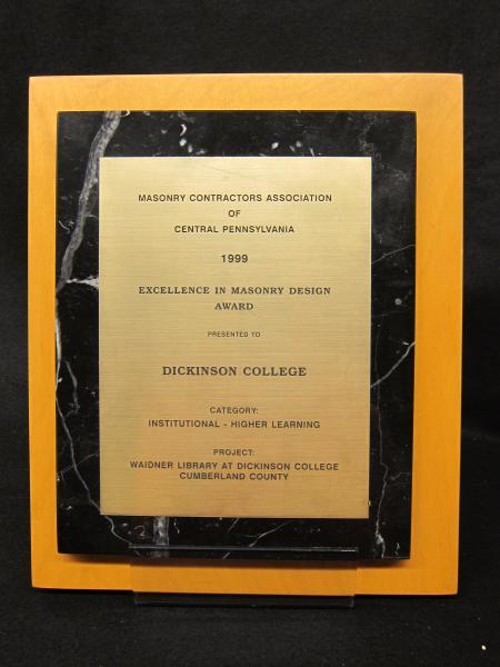 Masonry Contractors Association of Central Pennsylvania plaque, 2000