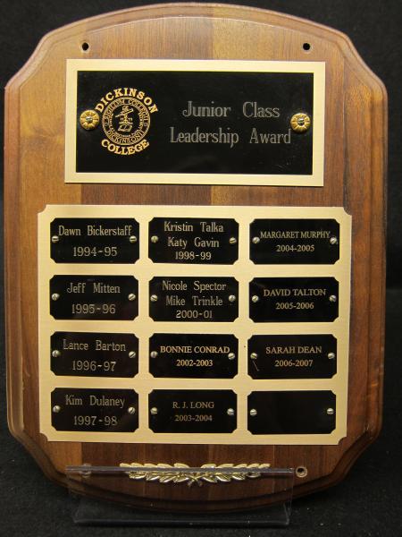 Junior Leadership Award plaque, 1994-2007