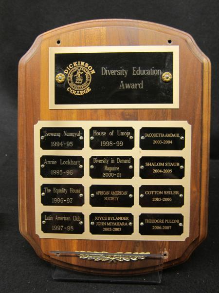 Diversity Education Award plaque, 1994-2007