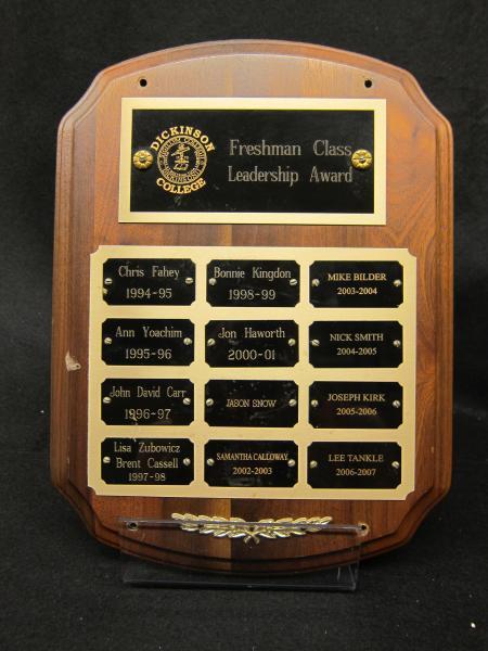 Freshman Class Leadership Award plaque, 1994-2007