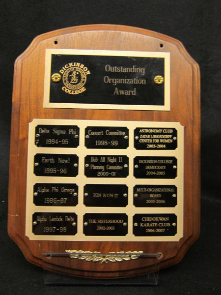 Outstanding Organization Award plaque, 1994-2007