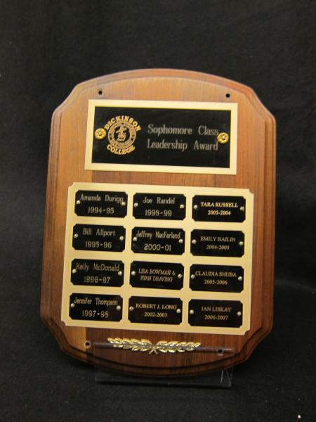 Sophomore Class Leadership Award plaque, 1994-2007