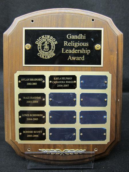 Gandhi Religious Leadership Award plaque, 2002-2007
