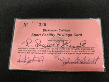 Sports Facility Privilege Card Front