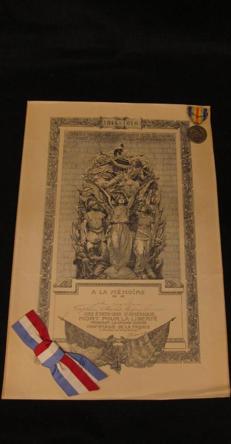 WWI Allied Service Medal and Certificate, 1919