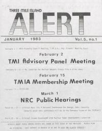 Three Mile Island Alert Newsletters, 1983