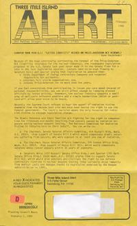 Three Mile Island Alert Newsletters, 1988