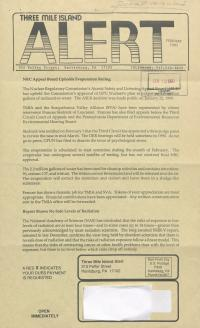 Three Mile Island Alert Newsletters, 1990