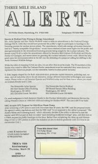 Three Mile Island Alert Newsletters, 1992