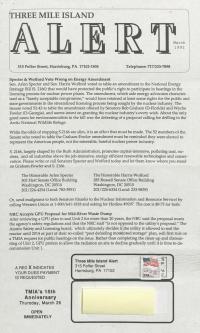 Three Mile Island Alert Newsletters, 1992