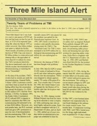 Three Mile Island Alert Newsletters, 1999