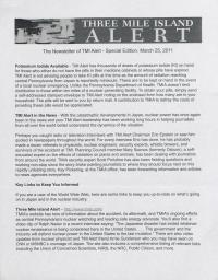 Three Mile Island Alert Newsletters, 2011
