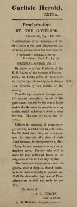 "Carlisle Herald, ""Proclamation by the Governor"""