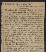 "Carlisle Sentinel, ""Theodore M. Johnson Tells of Civil War Days in Carlisle"""