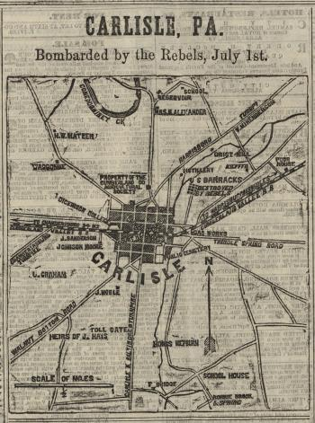 Map of Carlisle PA Bombarded by the Rebels July 1st Dickinson