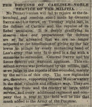 "Philadelphia Inquirer, ""The Defense of Carlisle - Noble Service of the Militia"""