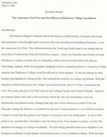 """The American Civil War and the Effect on Dickinson College Enrollment,"" by Christine Line"