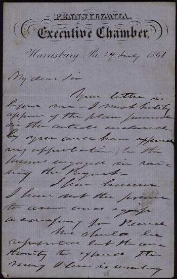 Letter from Andrew Curtin to S. G. Theud