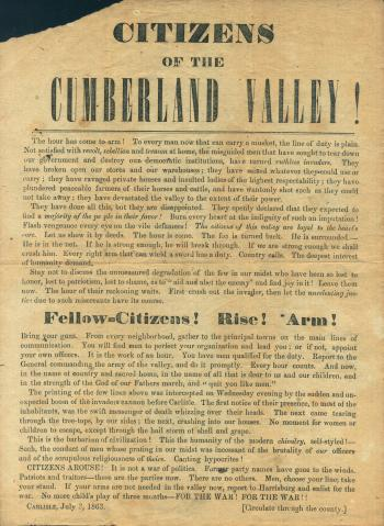 "Broadside of ""Citizens of Cumberland Valley!"" Call to Arms"