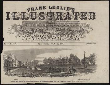 """Frank Leslie's Illustrated Newspaper, """"Carlisle... Barracks Destroyed"""""""