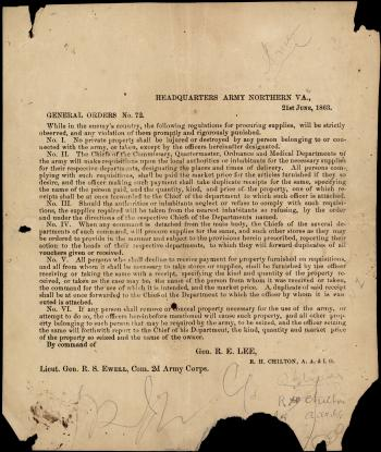 "Broadside of ""General Orders No. 72"""