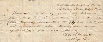 Permission slip to leave Union lines at Vicksburg